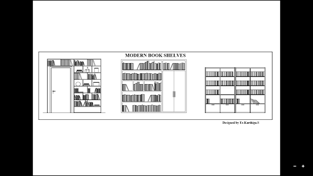S S Builders And Planners Modern Book Shelves In Autocad Project