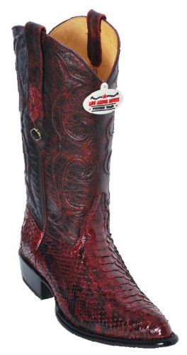 33e30a09a10 Men's Cowboy Boots Western Fashion Leather Python Burgundy Brown ...