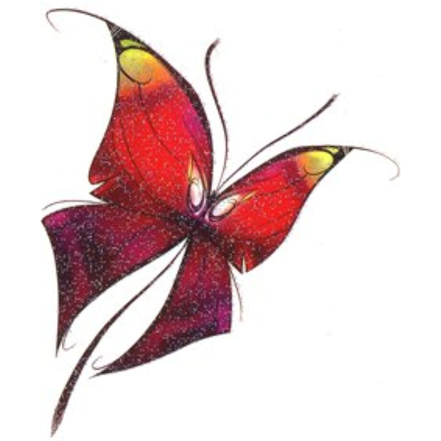 multi color butterfly 2 glitter temporary tattoo read more reviews of the product - Color Butterfly 2