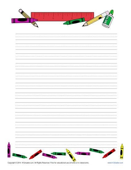 School Printable Lined Writing Paper  School Writing Paper And