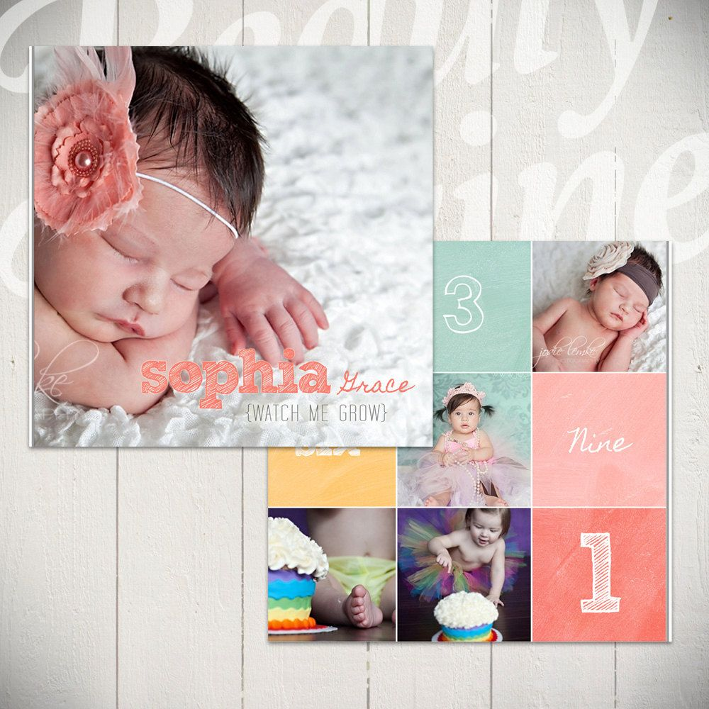 baby album template watch me grow first year book template for photographers 10x10. Black Bedroom Furniture Sets. Home Design Ideas