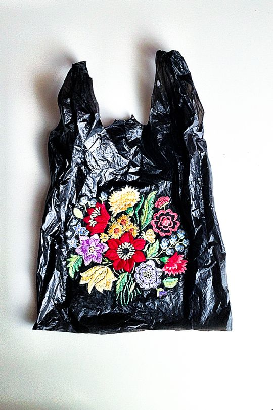 El Barrio Bodega is a series of embroidered plastic bags by Brooklyn born, Baltimore based artist, Nicoletta Darita de la Brown. Nicoletta finds the bags on the streets and reclaims them with her embellishments.