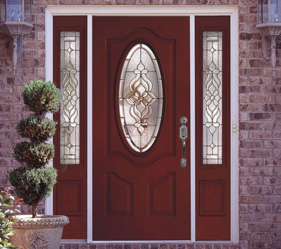 Feather River Door Entry Door Painted In Dark Red Entry Doors Door Glass Design Fiberglass Entry Doors
