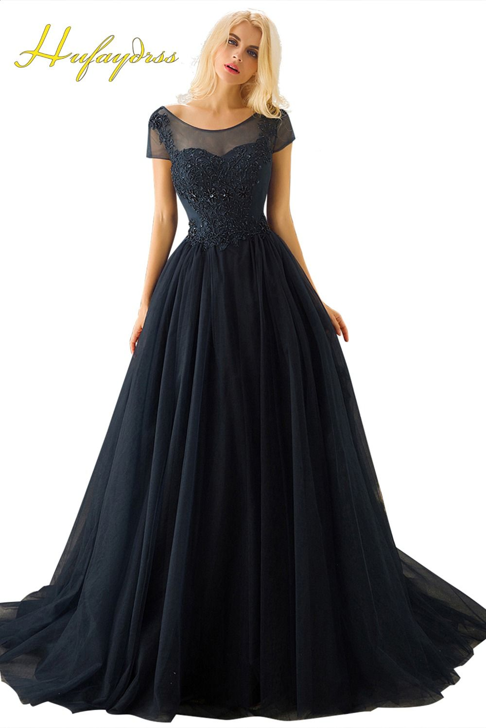 Navy blue evening dresses ball gown lace short sleeves lace up