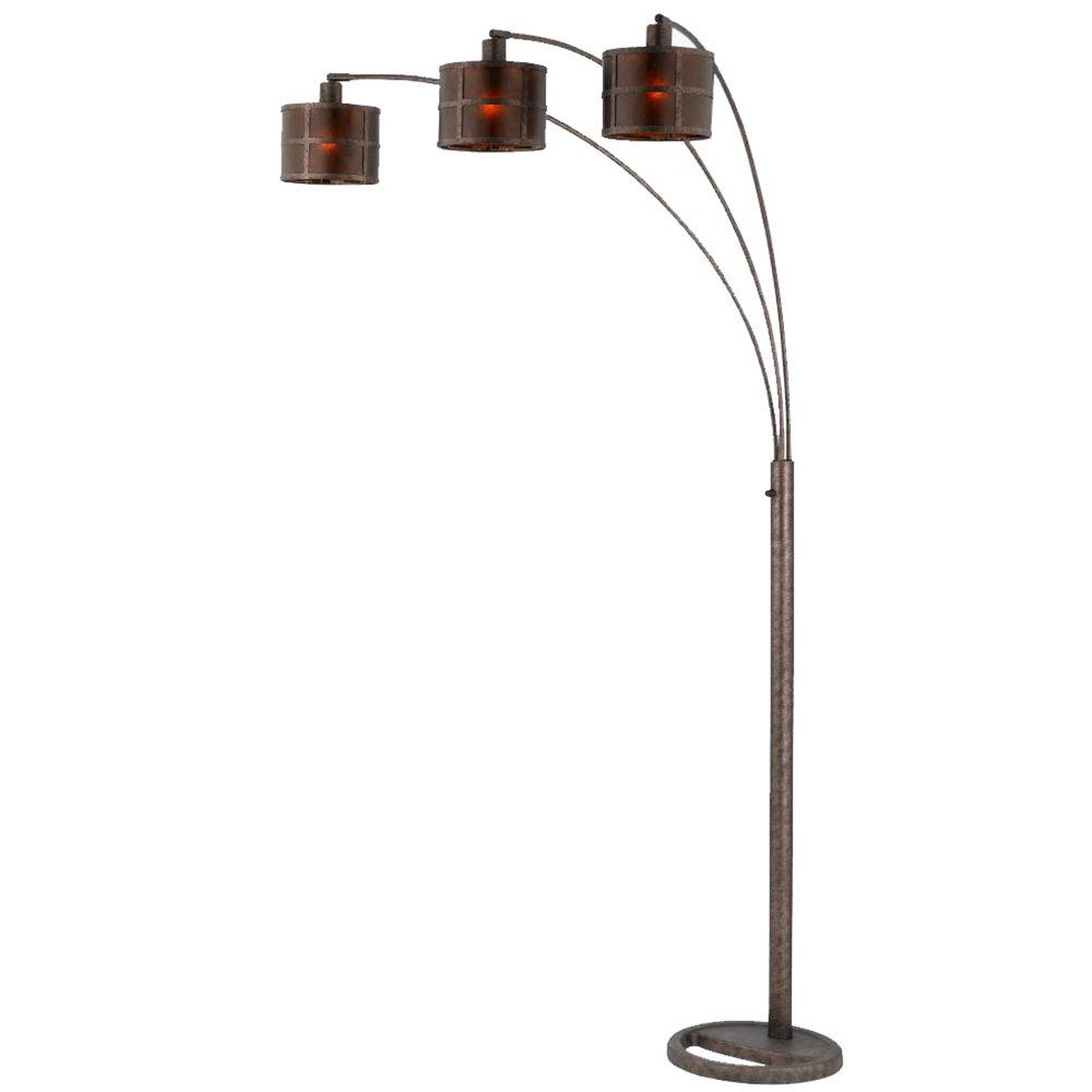 Cal lighting bo floor lamp with mica glass shades rust finish