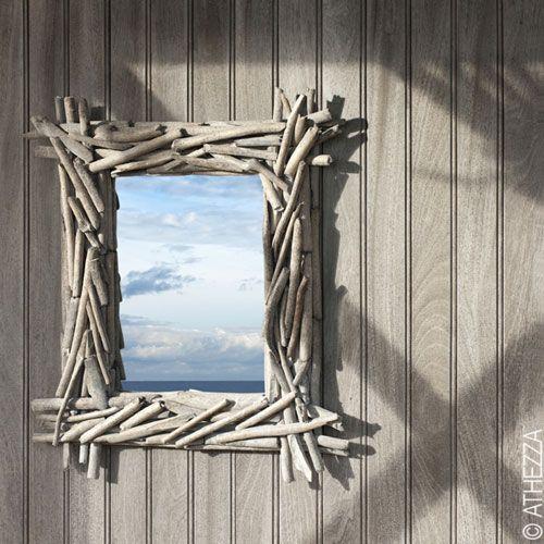 miroir en bois flott athezza bois flott pinterest miroir bois flott miroir bois et. Black Bedroom Furniture Sets. Home Design Ideas