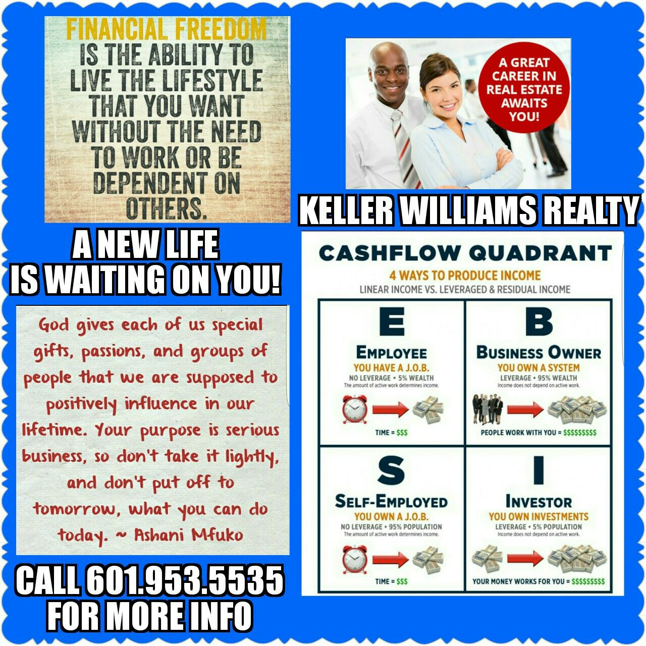 Pin By Felicia A Durham Realtor On Real Estate Passion Cashflow Quadrant Financial Freedom Keller Williams Realty
