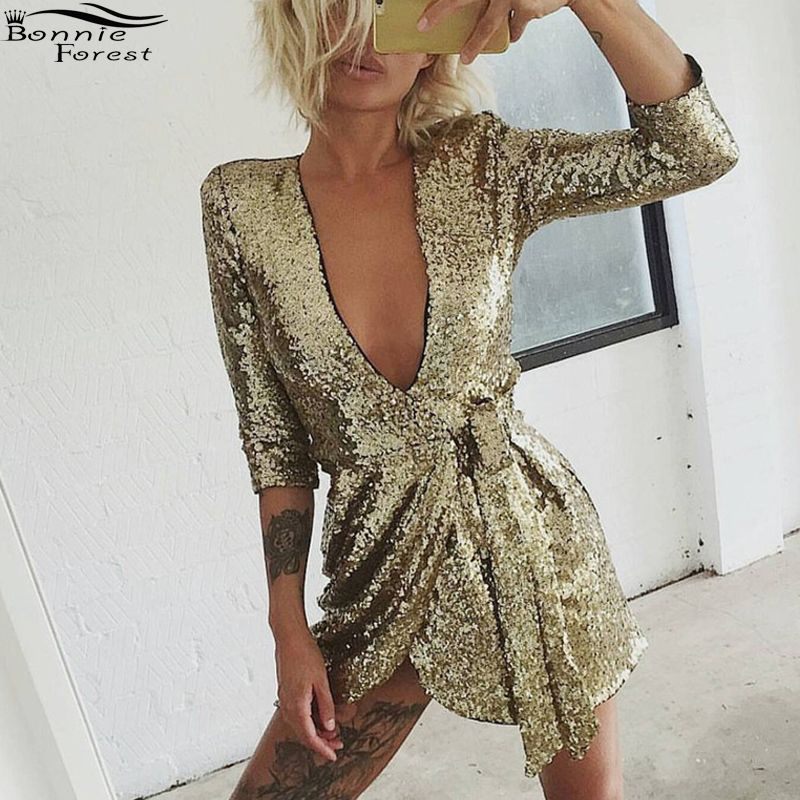 Bonnie Forest Sexy Women Platinum Sequin Wrap Dress 2018 Summer Gold Deep V  Neck Half Sleeve Party Dress Club Vestidos With Belt-in Dresses from  Women s ... b5be5d2acc25