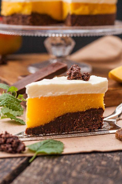 Kuchen ohne backen mit Mango und Pumpernickel