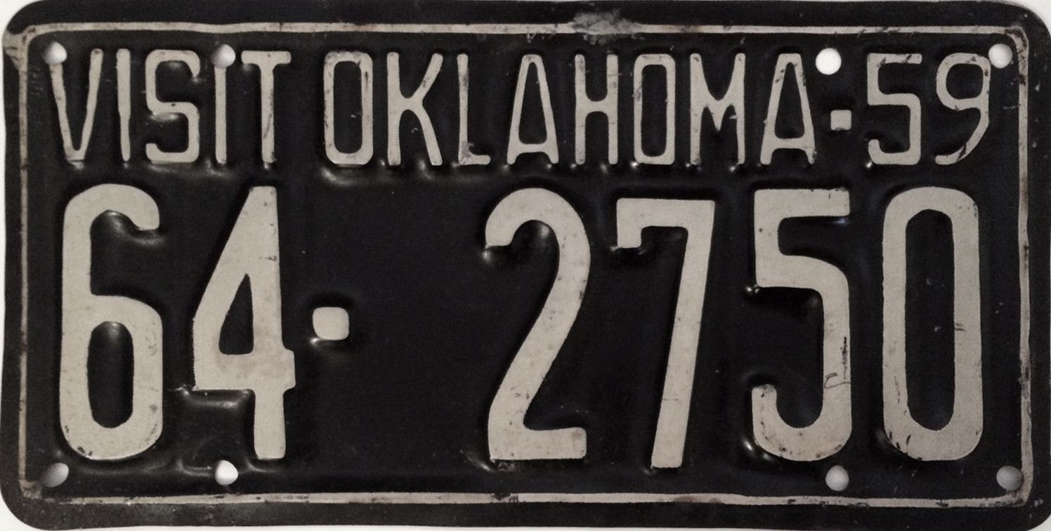 Vehicle Registration Plate Plates Car License Oklahoma Number