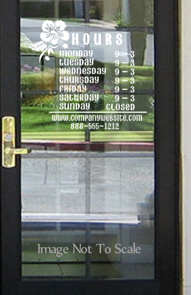 Store hours name custom window decal business shop storefront vinyl door sign company lawyer medical office florist sandwich gym grocery