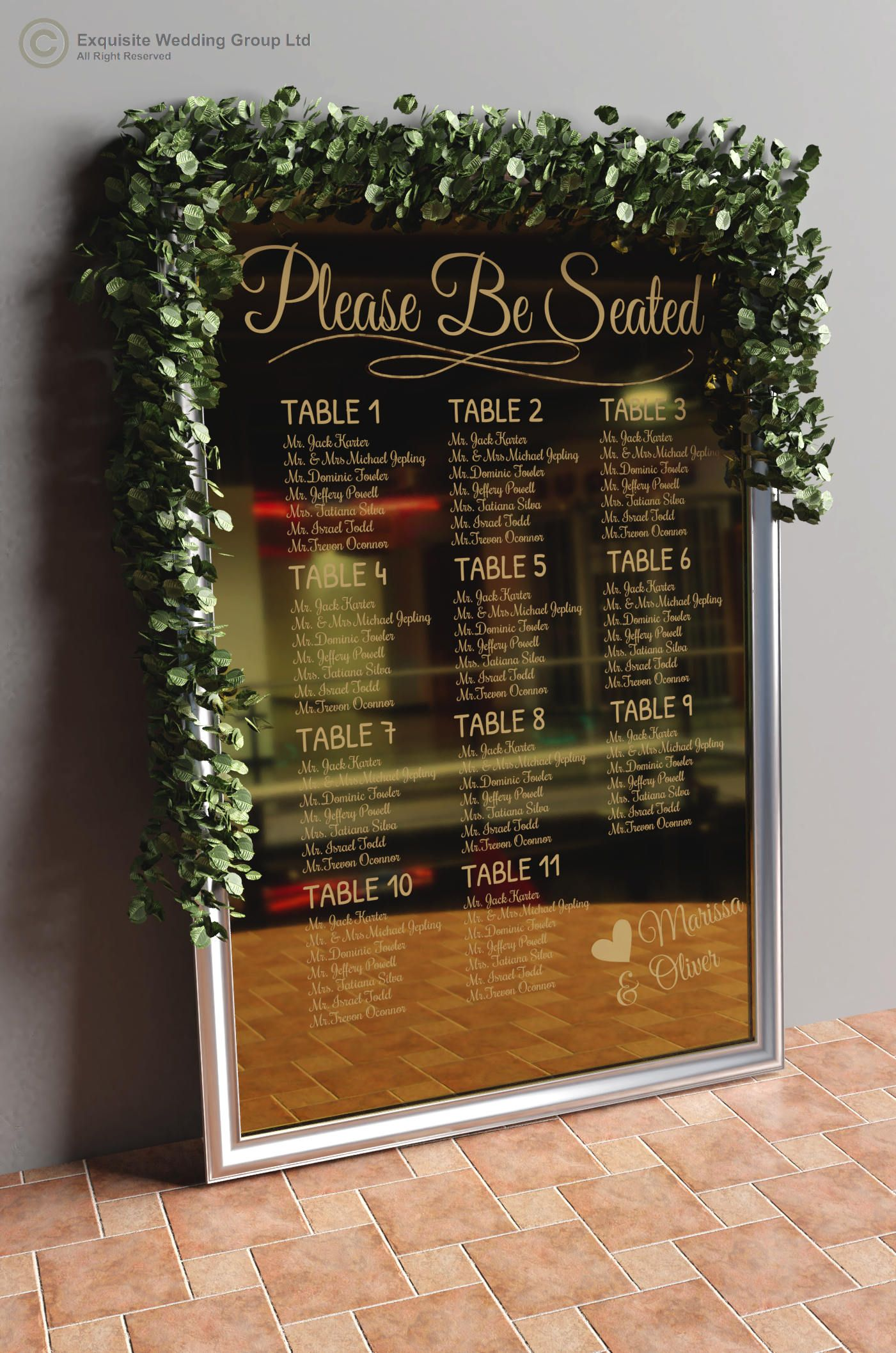 Personalised Wedding Table Plan Seating Plan Large Engraved Silver Mirror Wood Clear Acrylic And Gold Mirror