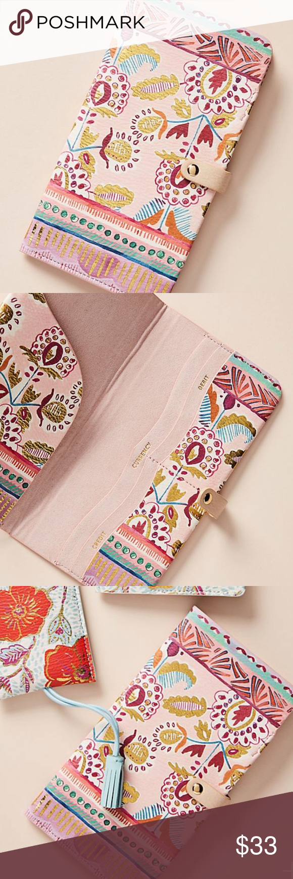 5757c7e592dcf Anthropologie Elodie Travel Wallet Style No. A45504161AA ; Color Code: 000  Polyurethane, metal Imported Dimensions 8