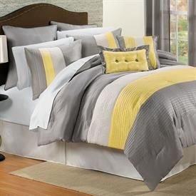 Yellow And Gray Bedding Essence Comforter Set More Bed Sets Brylanehome Grey Bedroom Decor White Bedroom Decor Yellow Bedroom