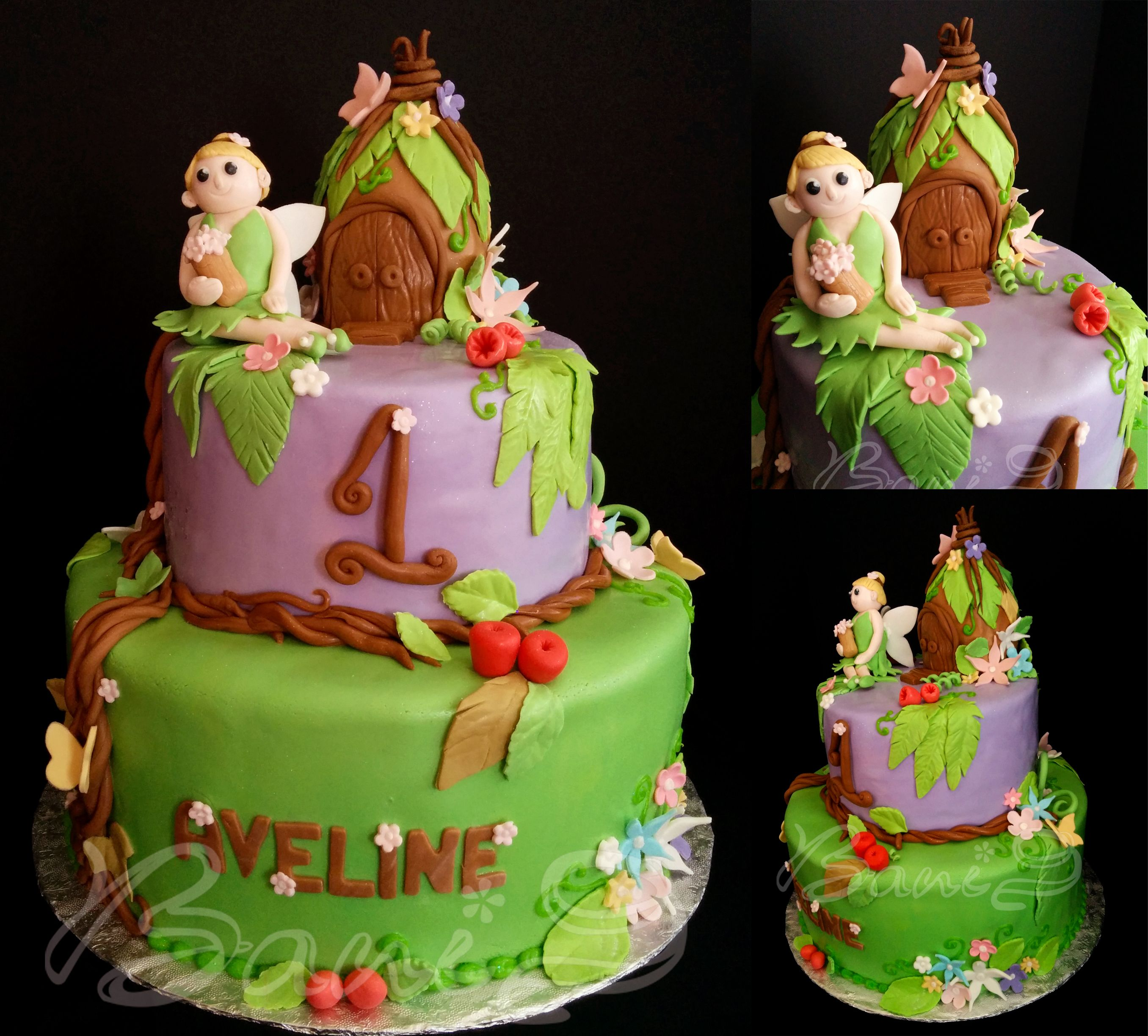 Tinkerbell Theme Cake 1st Birthday Cake Tiered Cakes Pinterest
