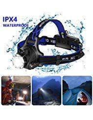 zknen Stirnlampe LED 6400mAh USB Wiederaufladbare Stirnlampe Kopflampe Wasserdicht Leichtgewichts fü...