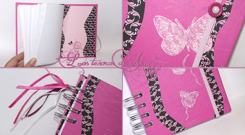 Libreta de mariposas realizada artesanálmente, encuadernada con  la cinch y decorada con papel scrap, sellos de mariposas y perla  #scrap #scrapbook #scrapbooking #diy #handmade  http://lostesorosdeanystef.blogspot.com.es/2016/04/libreta-de-mariposas-con-brillos.html