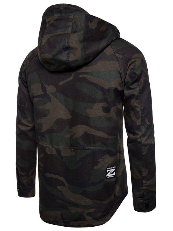 Back Curve Bottom Zip Up Camouflage Jacket ,