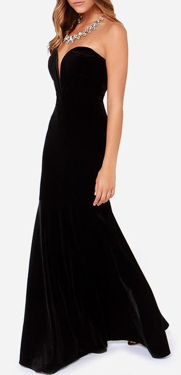 3064346a4e8f Bold at Heart Strapless Black Velvet Maxi Dress | New and happy ...