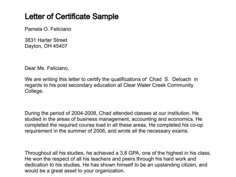 Letter of Certificate Sample Lettering, Online english