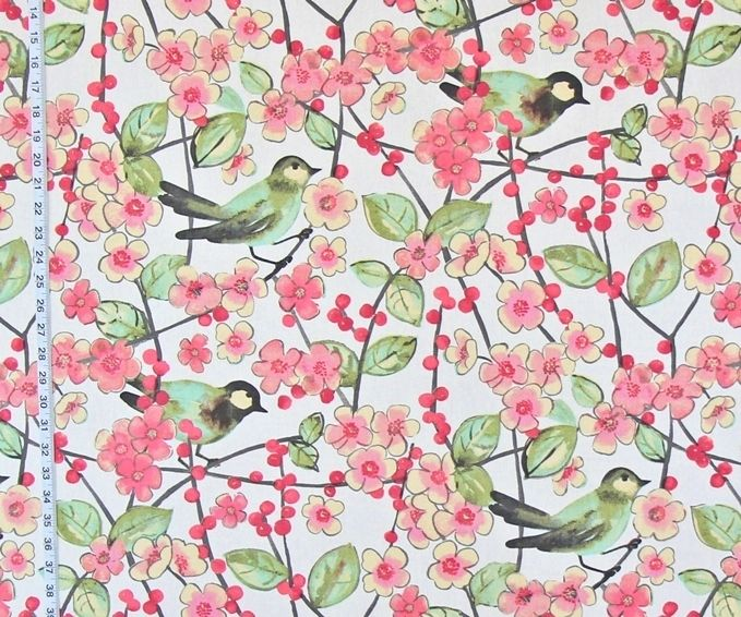 Bird Fabric Cherry Blossoms Spring Watercolor Pink Flowers