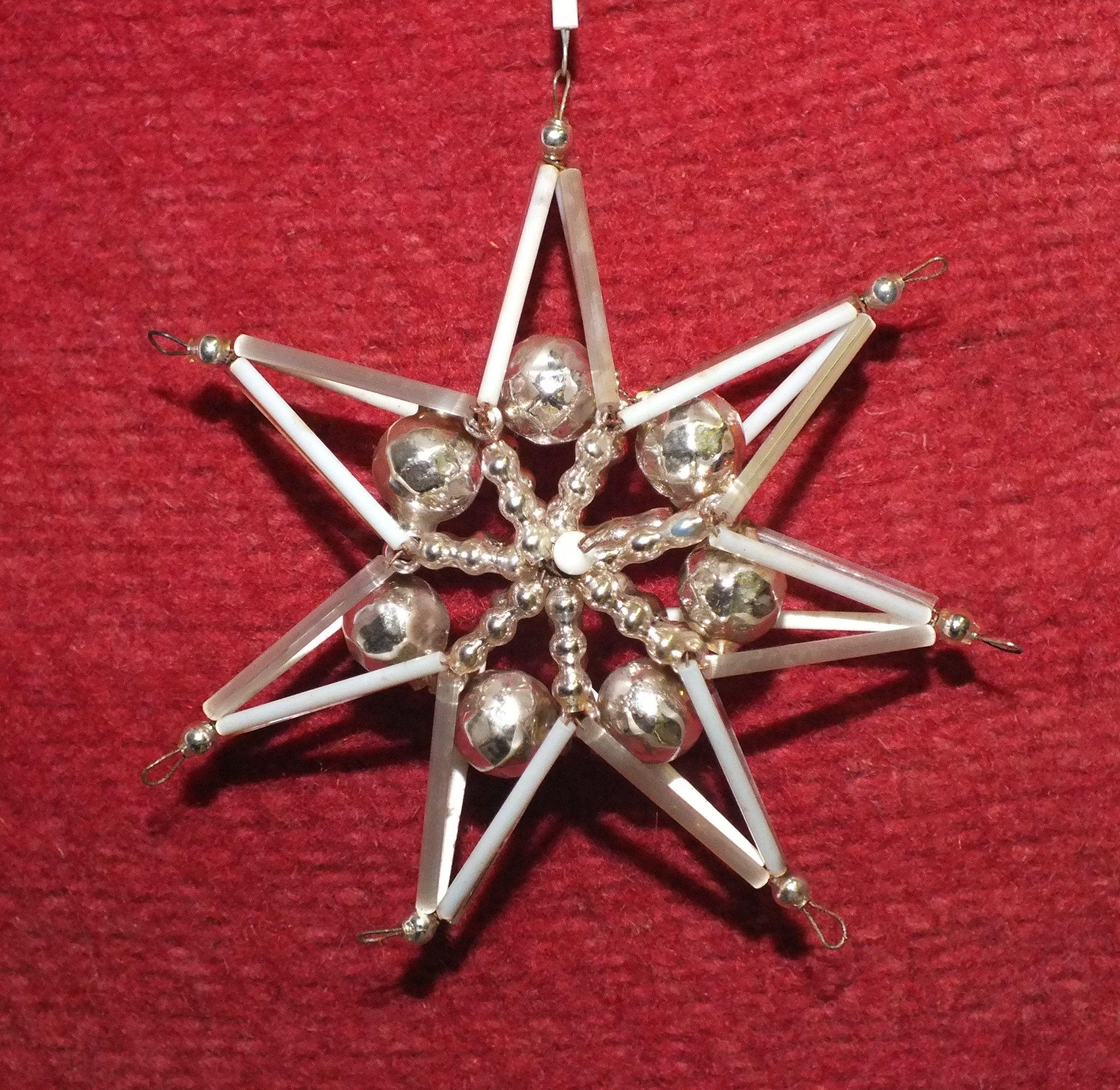 Stern Perlen Silber Eiskristall Metall Weiß Weihnachten: Gablonzer Weihnachtsbaumschmuck - JAUL.biz