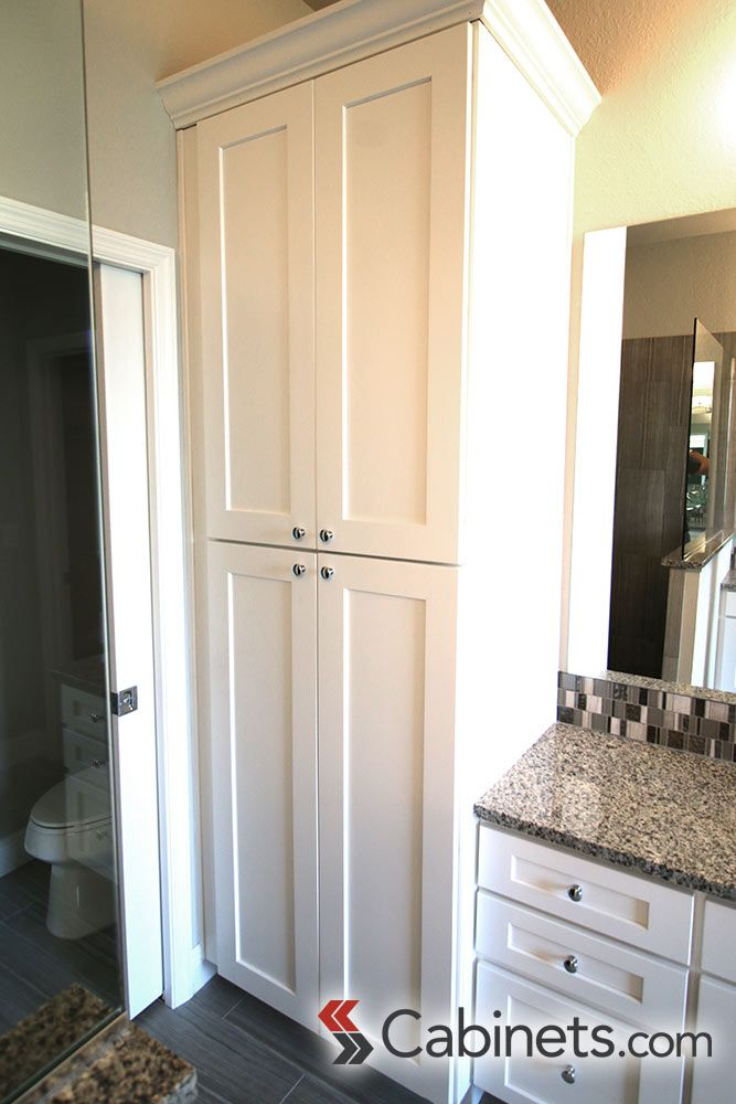 Large Linen Cabinet Next To Bathroom Vanity Cabinets