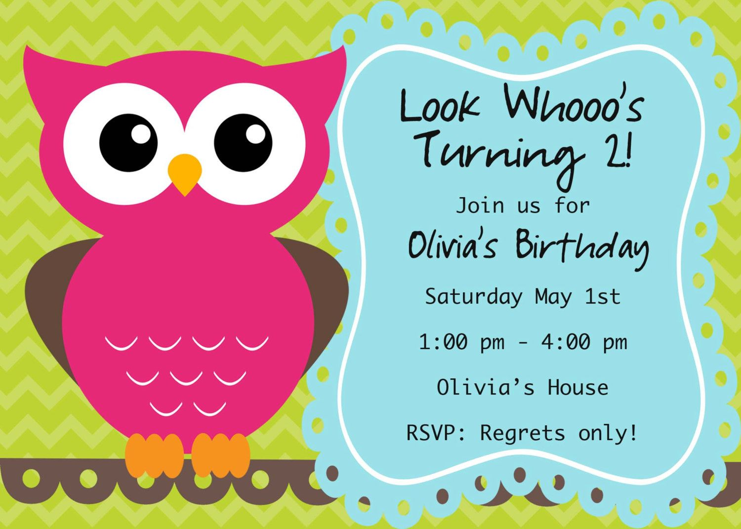 Image Detail For Owl Birthday Invite Card Can Be Personalized Or Customized Invitation