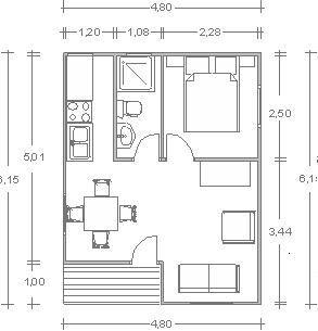 Pin di isabel alarc n su caba as pinterest monolocale for Piccoli piani di case gratuiti