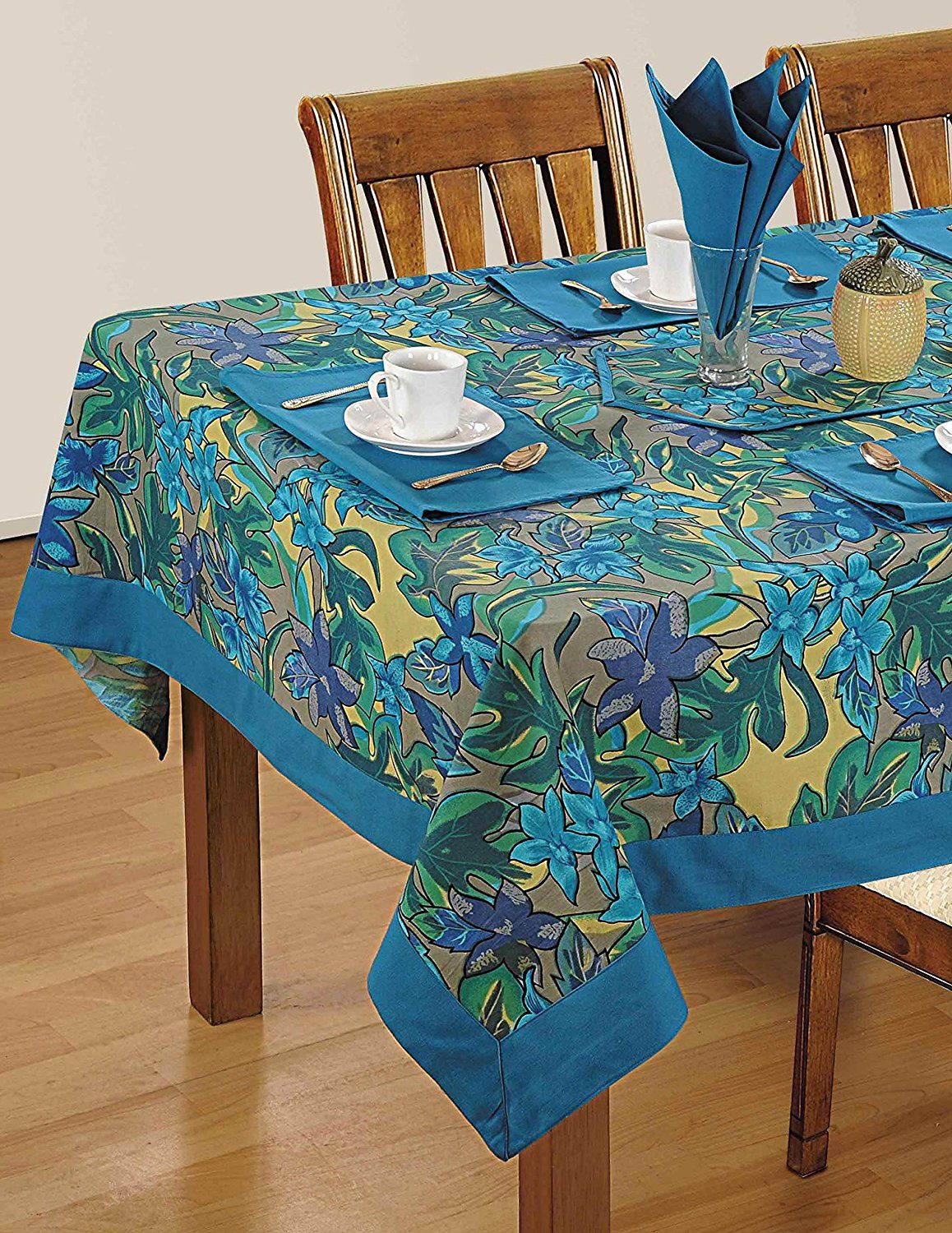 Colorful Multicolor Cotton Spring Floral Tablecloths For Dinning Room 60 X  60 Inches, Blue Border