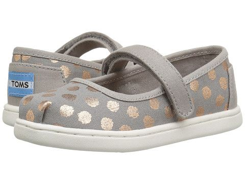 fe334ce14e4 TOMS Kids Mary Jane Flat (Infant/Toddler/Little Kid) Drizzle Grey/Rose Gold  Foil Polka Dot - Zappos.com Free Shipping BOTH Ways