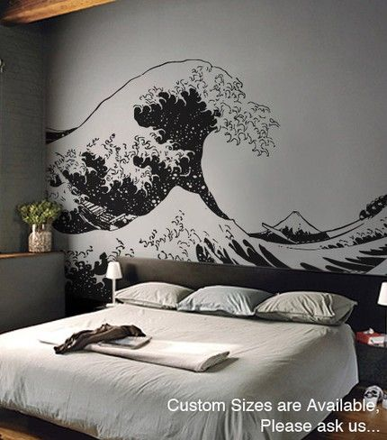 Vinyl Wall Decal Sticker Japanese Great Wave Hokusai LARGE Ft X - Wall decals large