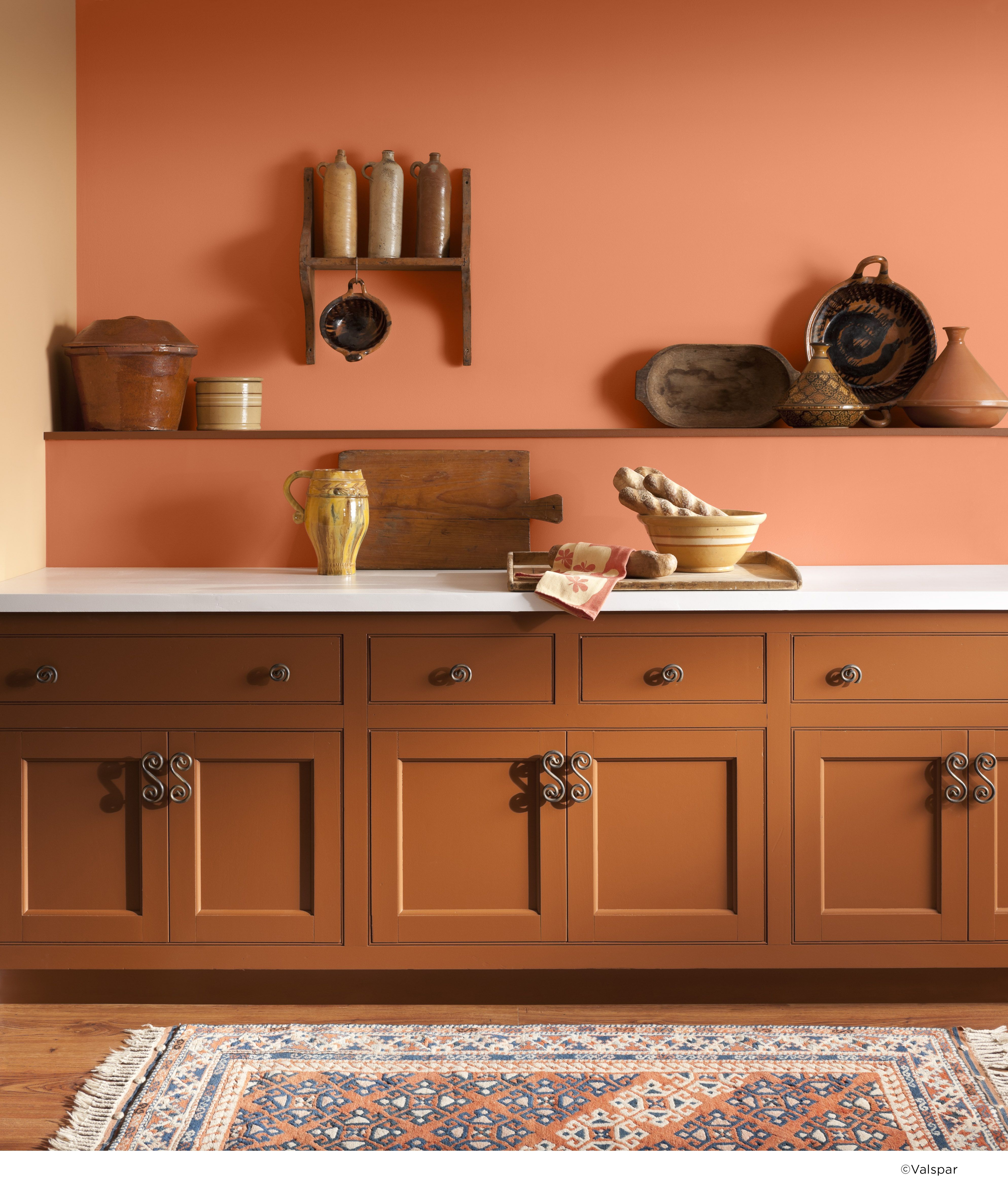an orange wall can bring extra rustic warmth to any kitchen  color name  valspar toasted apricot an orange wall can bring extra rustic warmth to any kitchen  color      rh   pinterest com