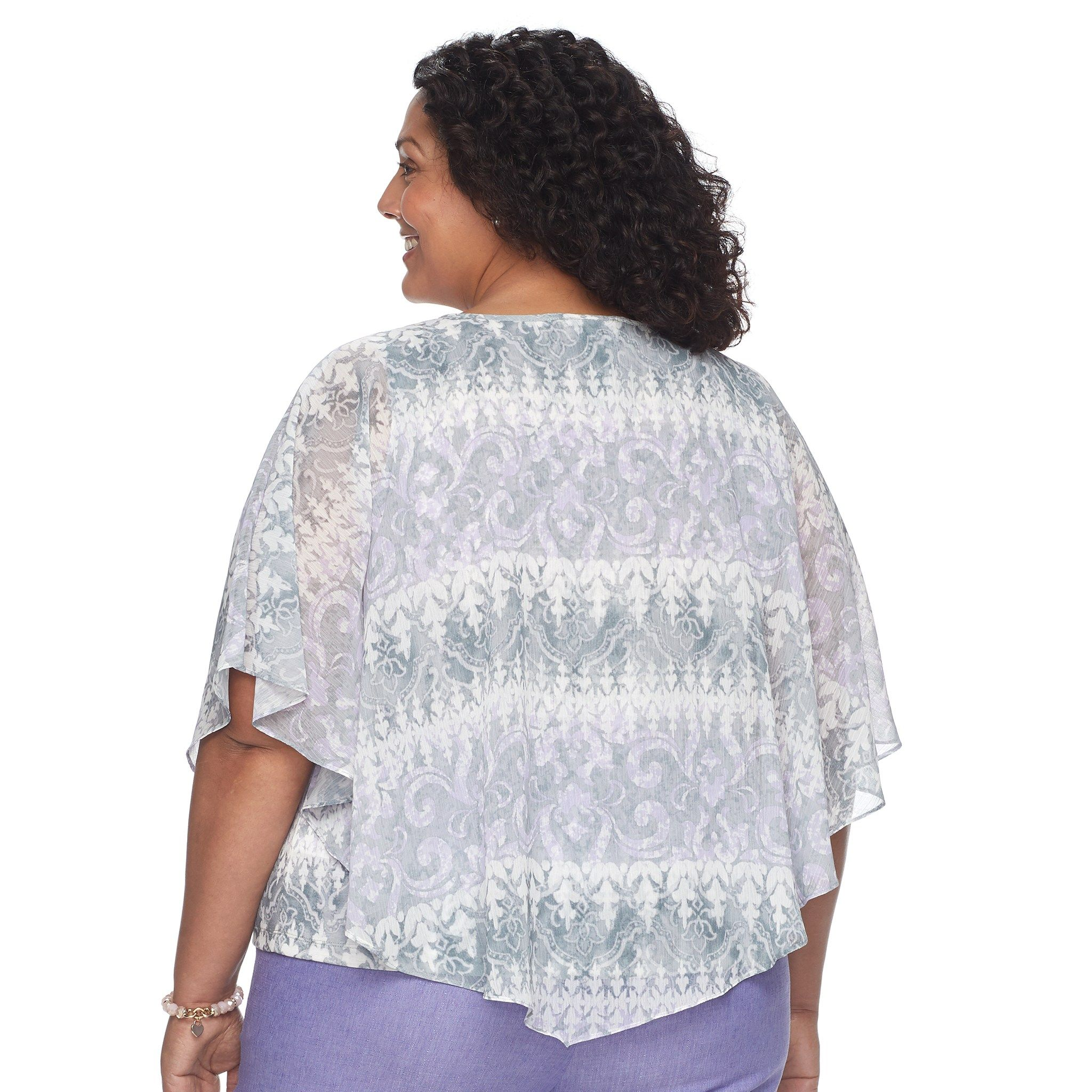 588d59a23bd34 Plus Size Alfred Dunner Studio Scroll Popover Top in 2019