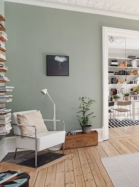 Sage Green Walls And A Rustic Knotty Floor This Room Echos The Sentiment Of Simplicity In Living Room Green Living Room Colors Paint Colors For Living Room