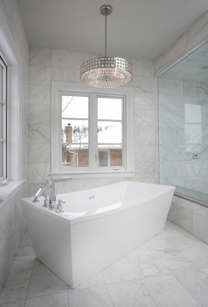 41 Bespoke Bathrooms With Glittering Chandeliers  White Marble Simple Bathroom Chandelier Design Decoration