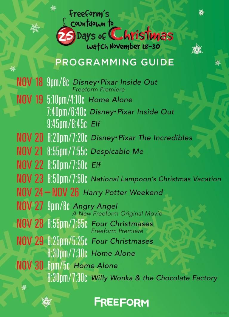 graphic regarding Abc Family 25 Days of Christmas Printable Schedule identify Abc 25 Fays Of Xmas 2019 Printable Xmas Items 2019
