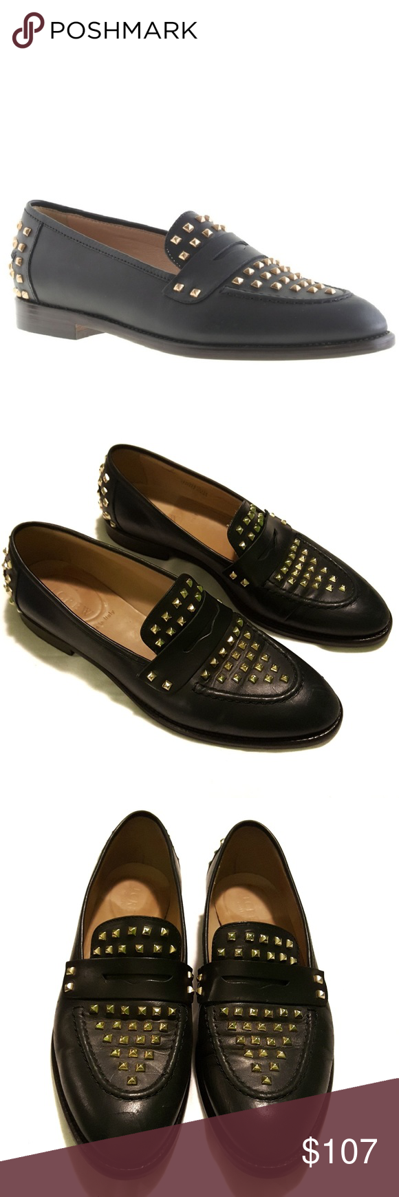 GUC Size 6.5 J. Crew Collection Penny loafers Studs make a ...