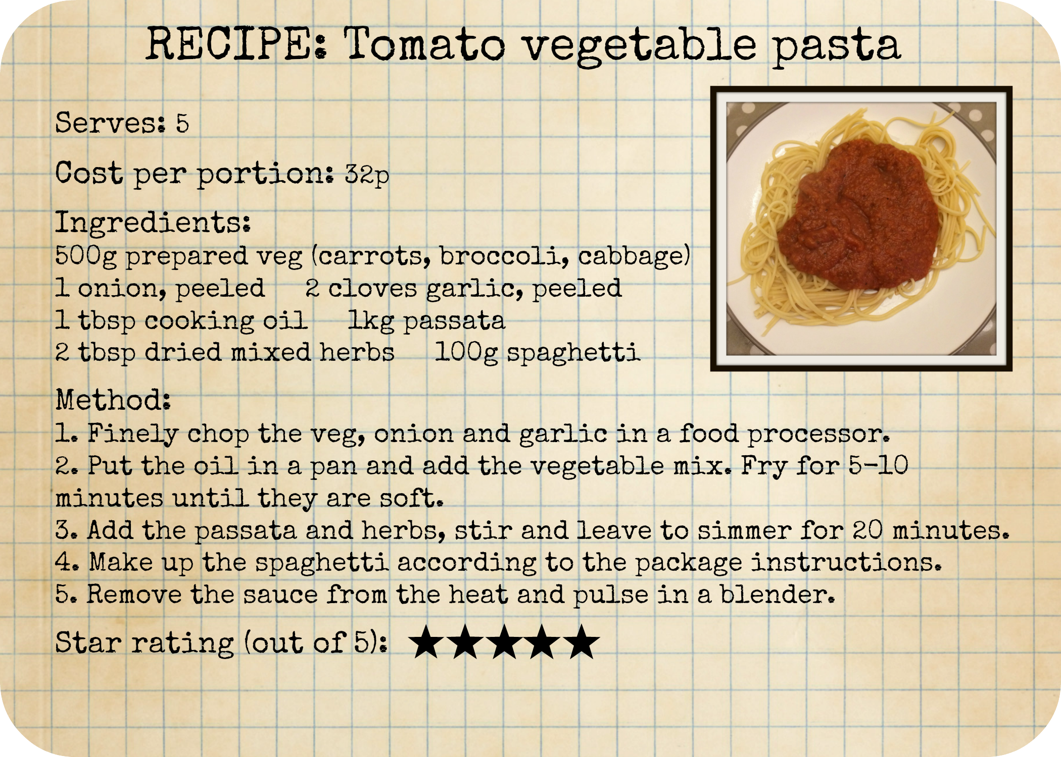 Live below the line tomato and vegetable pasta recipe | Healthy ...