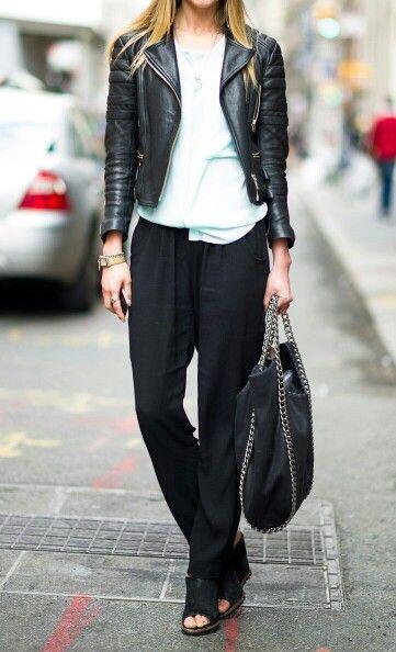 leather jacket & pijama pants
