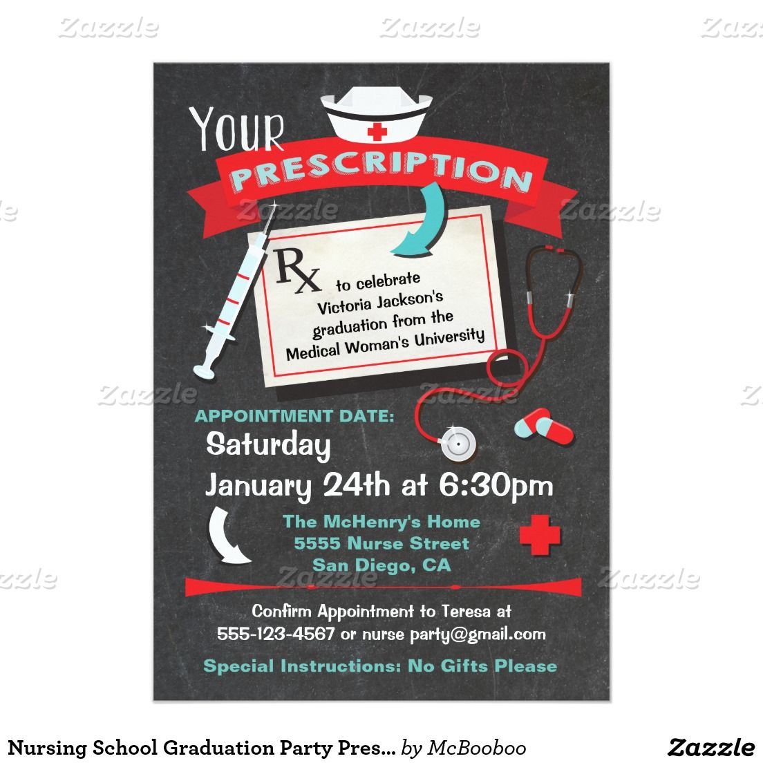 Nursing school graduation party prescription invitation pinterest nursing school graduation party prescription 5x7 paper invitation card filmwisefo