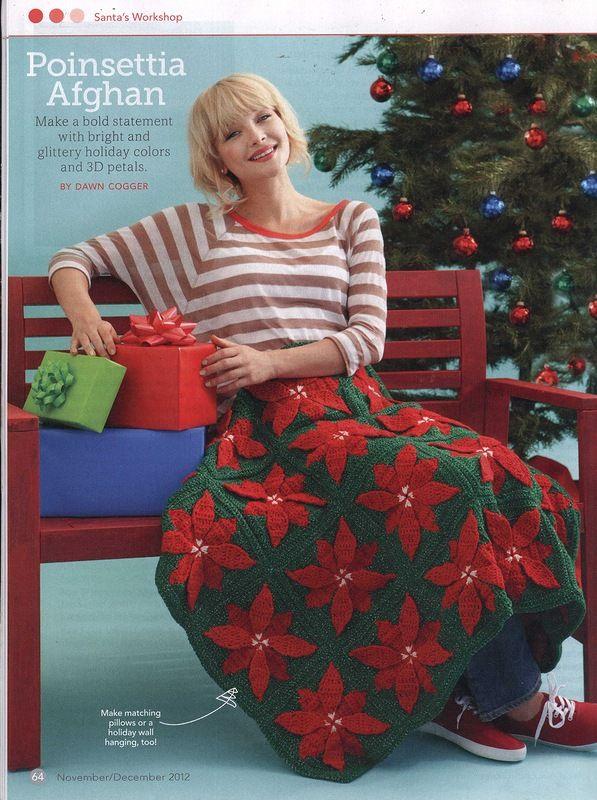 Poinsettia Afghan Christmas Blanket Crochet Pattern Blanket