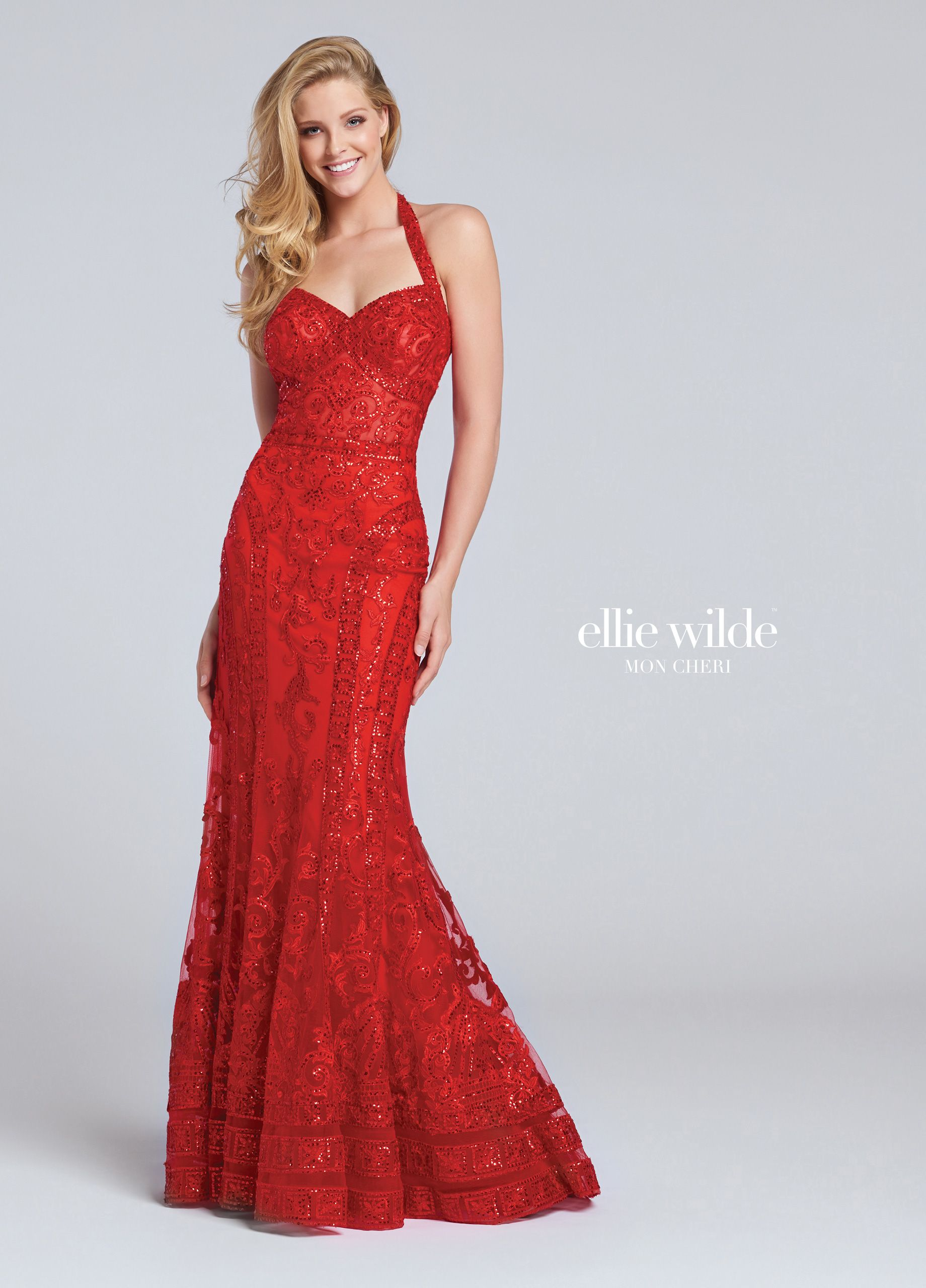 40e349e1787 Ellie Wilde EW117056 - Sequined lace halter trumpet gown with sweetheart  neckline