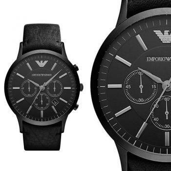 emporio armani ar2461 schwarz leder herren armbanduhr chronograph uhr neu ovp designer. Black Bedroom Furniture Sets. Home Design Ideas