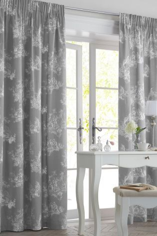 Buy Grey Toile Pencil Pleat Curtains From The Next UK Online Shop