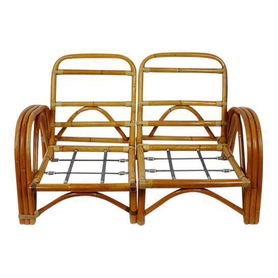 Vintage Bamboo Rattan Tiki Loveseat Products Rattan Love Seat Bamboo