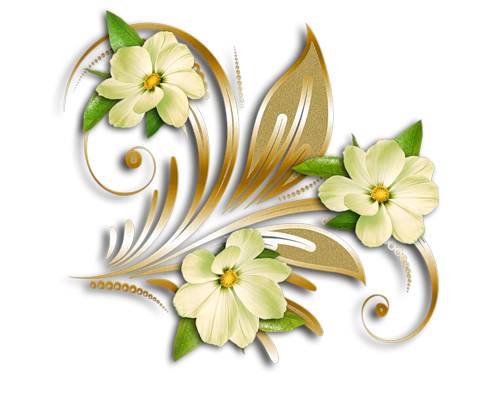 Yellow Flowers Gold Ornament Clipart Png Pinterest