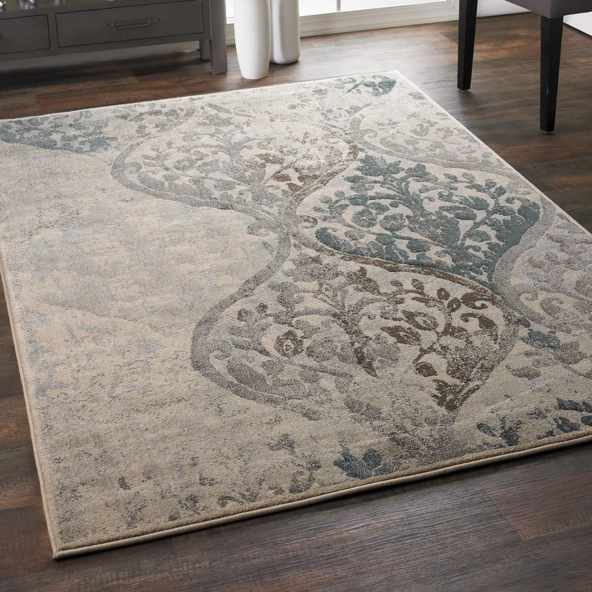 Moody Modern Damask Plush Rug In