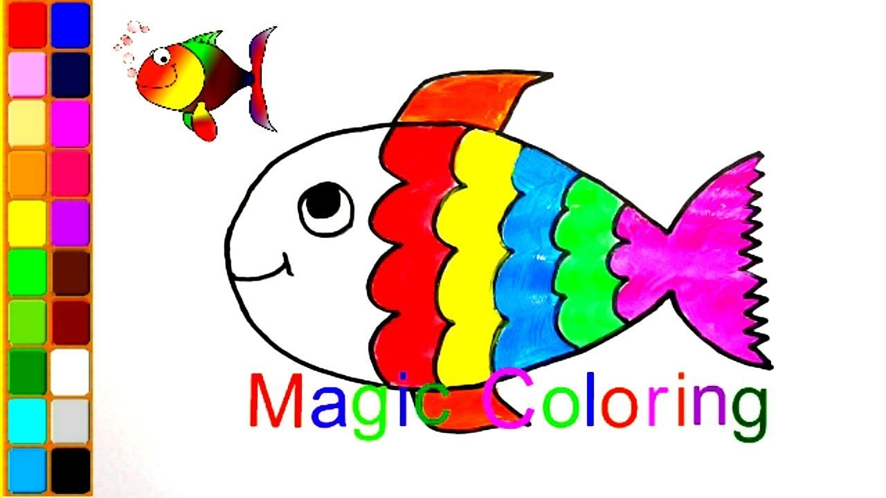 How To Draw A Fish Coloring Pages Rainbow Fish For Kids Fish Coloring Page Coloring Books Fish Drawings