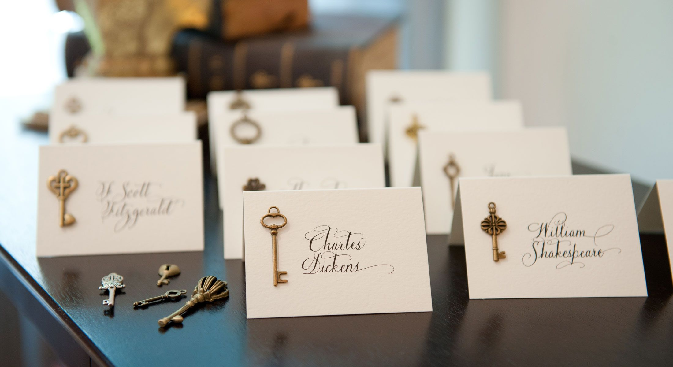 key placecards  jan boyd calligraphy  place card table
